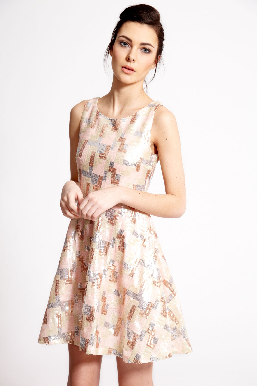 boohoo.com Boutique Lyla Pastel Sequin Geometric Prom Dress New Zealand fashion blogger