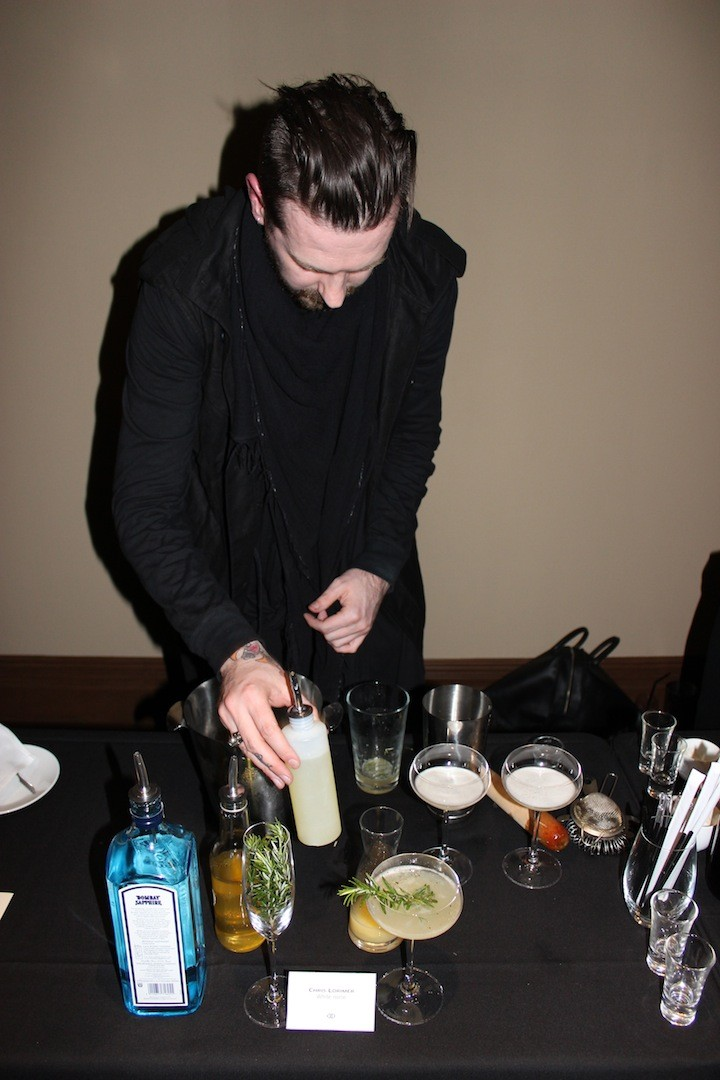 Chris Lorimer puts the final touches on his cocktail creation - White Noise