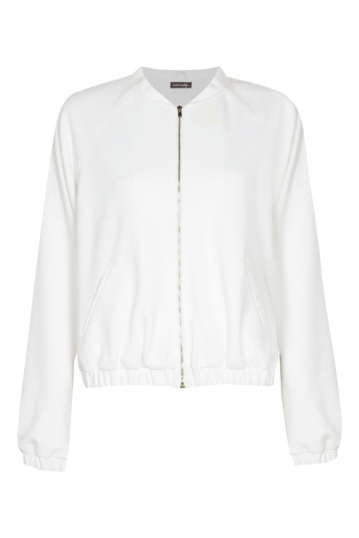 BOOHOO BOUTIQUE Heidi Heavy Knit Wet Look Crop Bomber $90.00