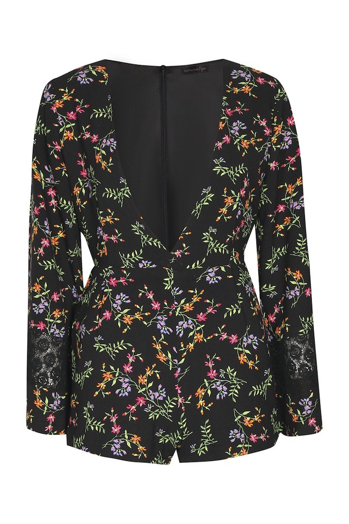 BOOHOO BOUTIQUE Leah Floral Crepe Belle Sleeve Playsuit $65.00