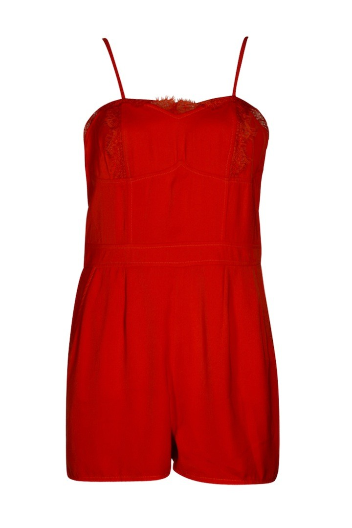 BOOHOO BOUTIQUE Liz Lace Trim Strappy Cami Playsuit $65.00