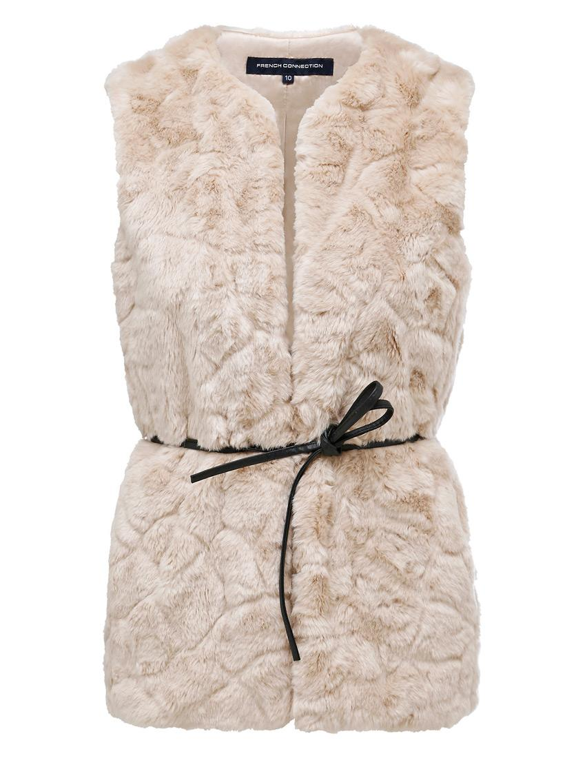 French Connection faux fur vest with tie