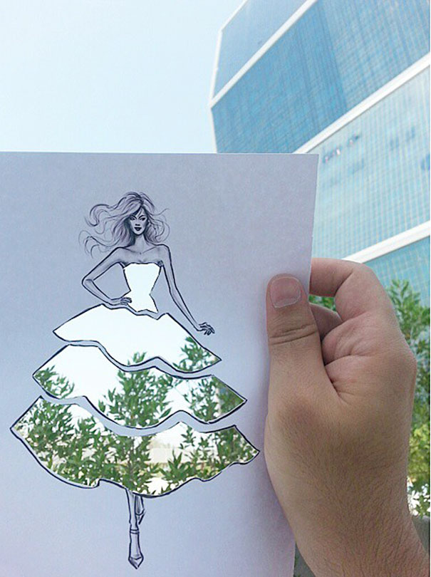 Fashion Illustrator Completes His Designs Using Sunshine, Clouds & Trees